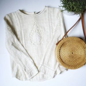 Zara- NWOT Long sleeve lace top